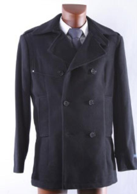 Mens Double Breasted Black Wool Winter Coat