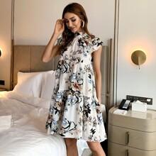 Kleid mit Ruesche am Kragen und Blumen Muster