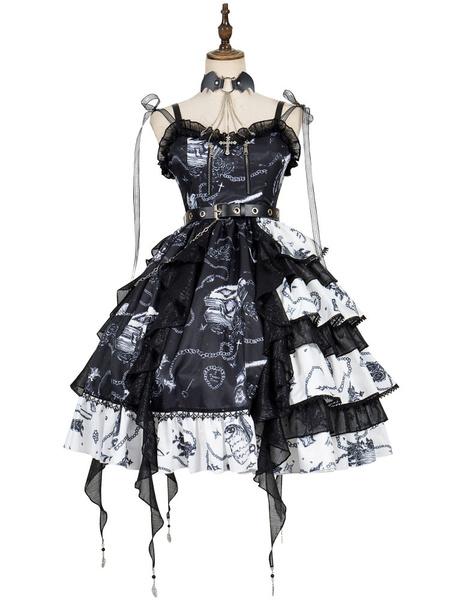 Milanoo Gothic Lolita JSK Dress The Vampire Diaries Lolita Jumper Skirts With Choker