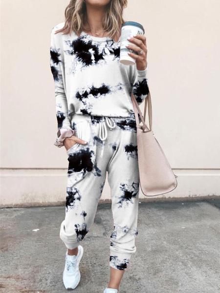 Milanoo Women\'s Loungewear 2-Piece Chic & Modern Long Sleeve Jewel Neck Cotton Fibers European And American Autumn And Winter Printed