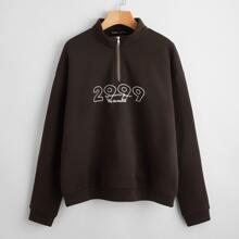Half Zip Drop Shoulder Letter Graphic Sweatshirt