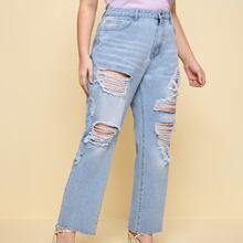 Plus Ripped Raw Hem Straight Jeans