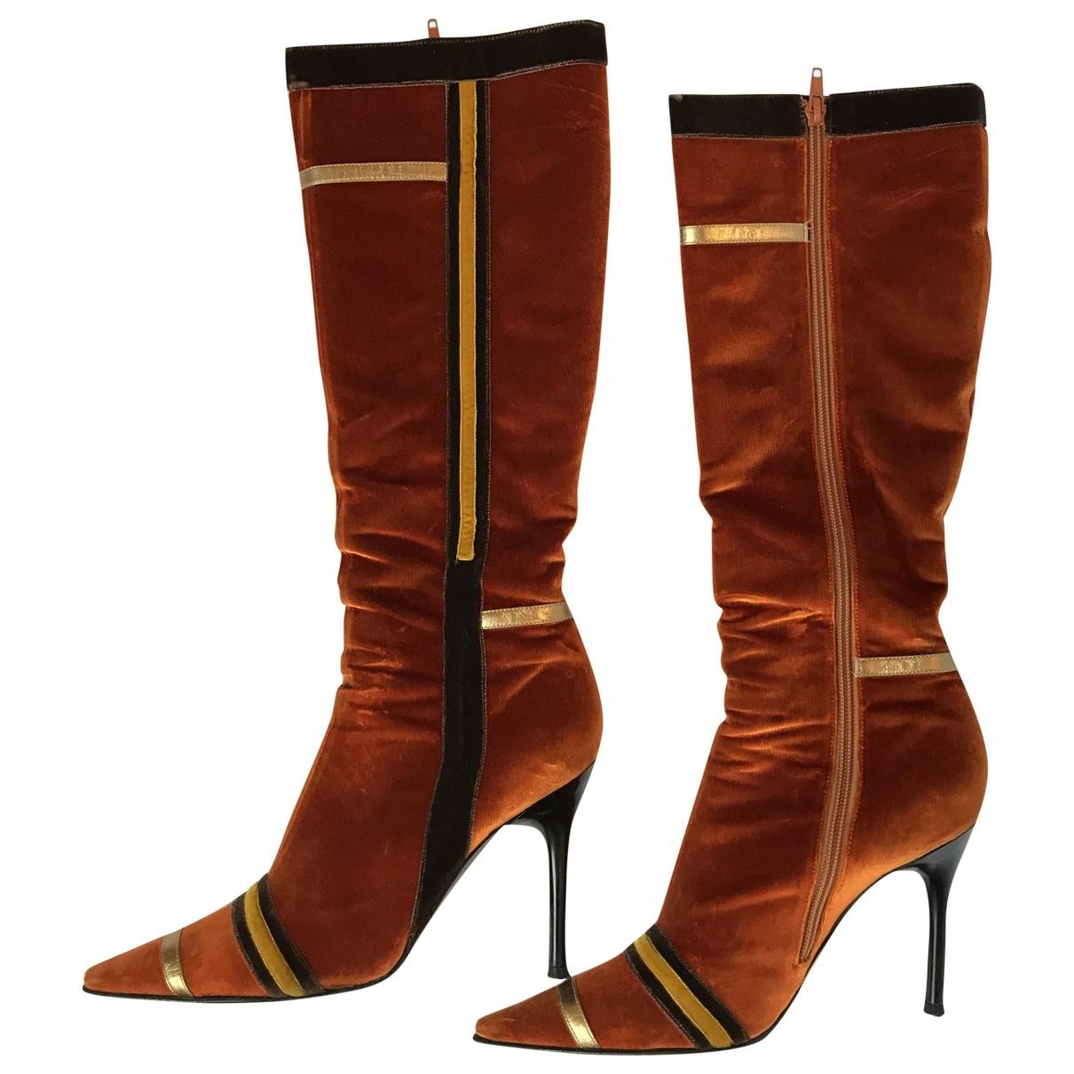 Casadei \N Multicolour Velvet Boots for Women 38.5 EU