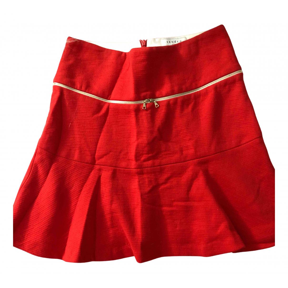 Sandro - Jupe   pour femme en coton - rouge