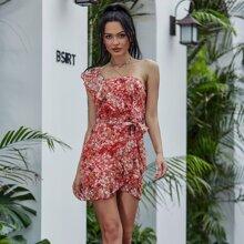 Eilly Bazar Kleid mit einer Schulter, Raffungsaum, Wickel Design, Guertel und Blumen Muster