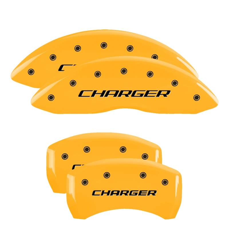MGP Caliper Covers 12005SCHBYL Set of 4: Yellow finish, Black Charger / Charger (Block) Dodge
