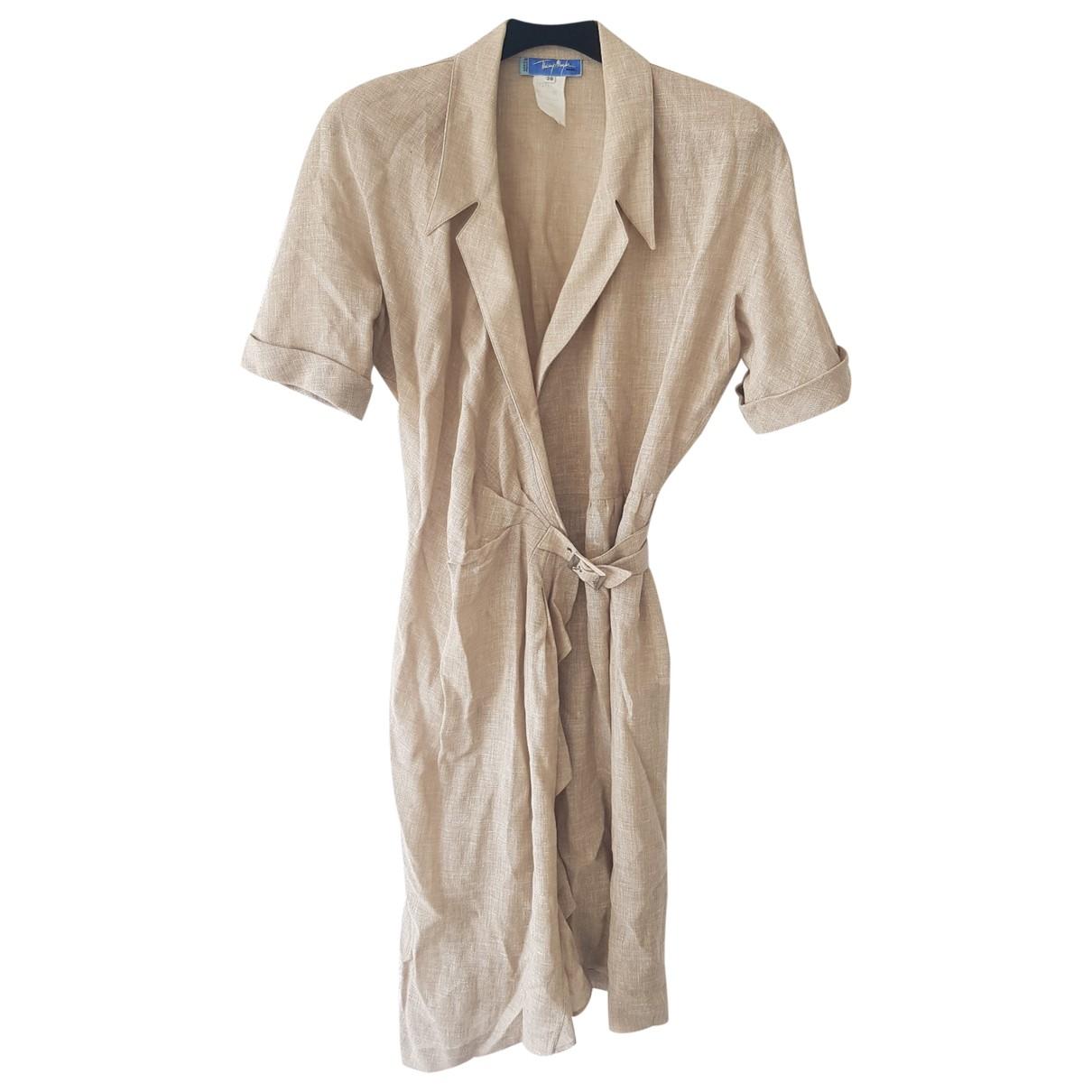 Thierry Mugler \N Beige Linen dress for Women 38 FR