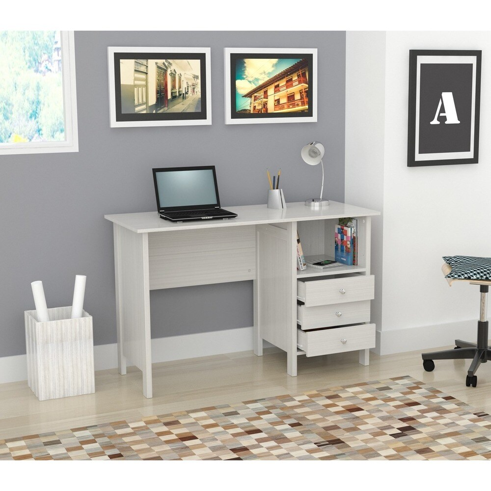 Porch & Den Trevor White Modern Straight Desk (White Modern Desk with three accessory drawers)