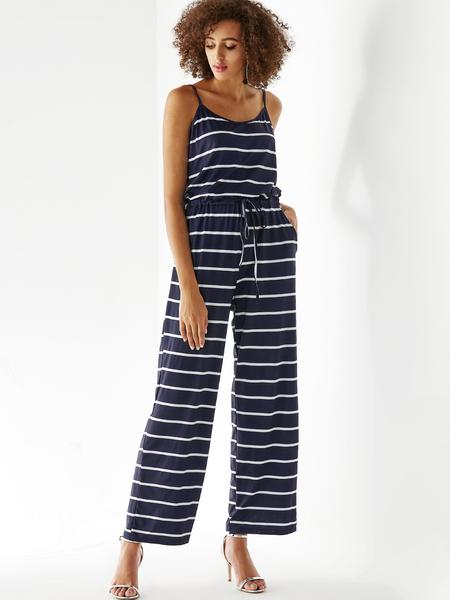 Yoins Navy Stripe Sleeveless Drawstring Waist Jumpsuit