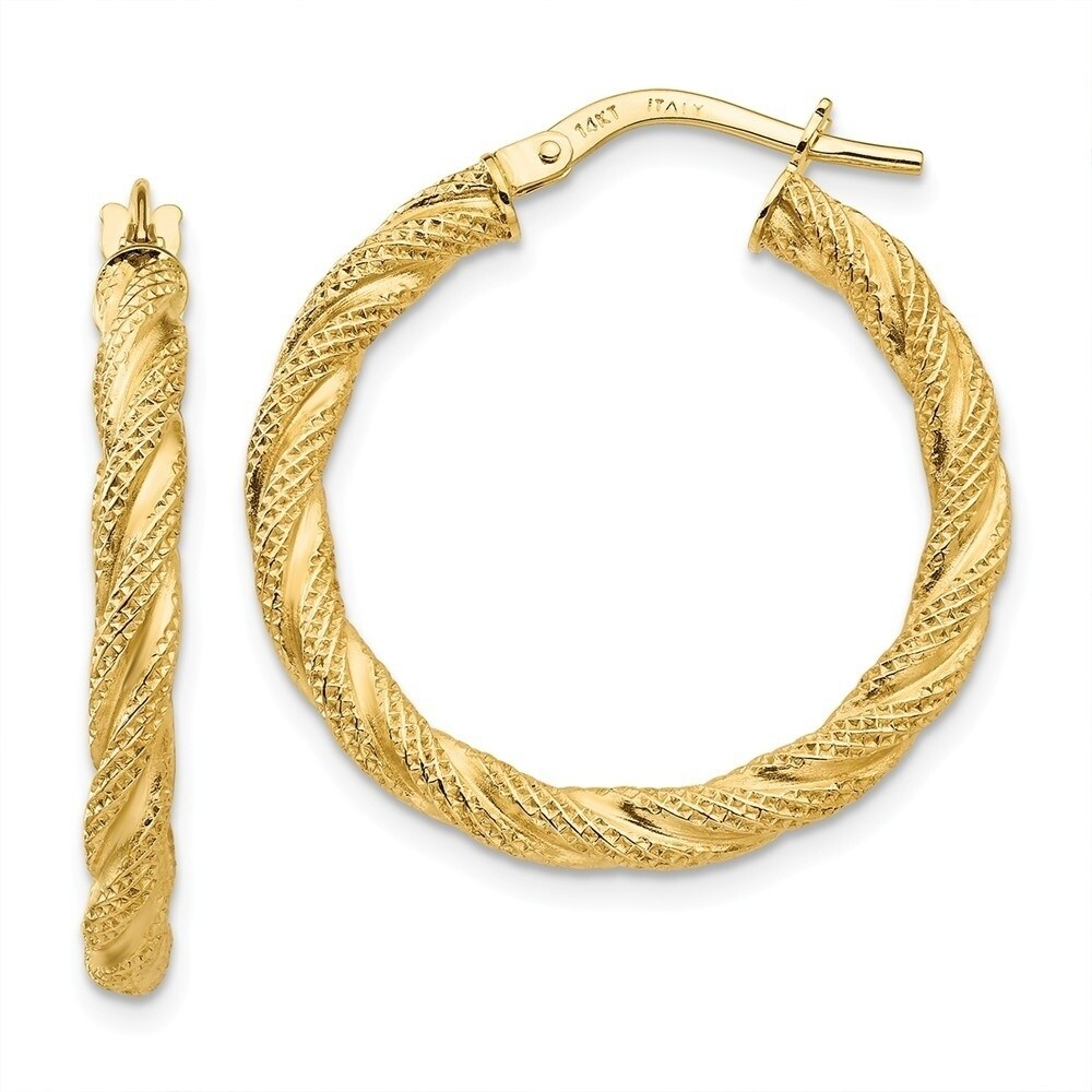 Curata 3mm 14k Yellow Gold Twisted Textured Hoop Earrings