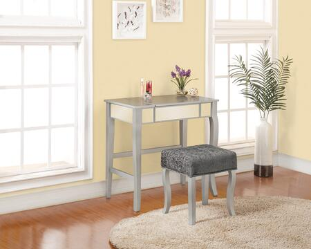 580432SIL01U Harper Collection Vanity Set with Decorative Curvy Front Legs  Medium-Density Fiberboard (MDF) and Polyester Upholstery in