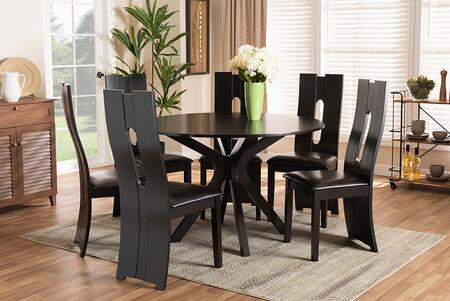 KENYON-DARK BROWN-7PC DINING SET Kenyon Modern and Contemporary Dark Brown Faux Leather Upholstered and Dark Brown Finished Wood 7-Piece Dining