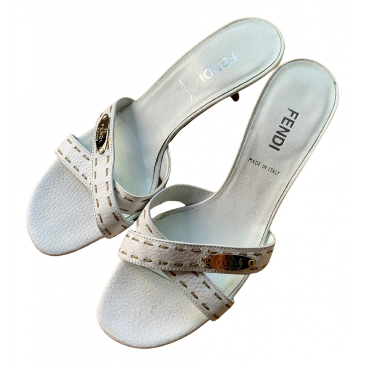 Fendi N White Leather Sandals for Women 35.5 EU