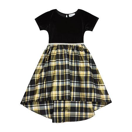 Sweet Charmers Little & Big Girls Short Sleeve High-Low Party Dress, 5 , Black