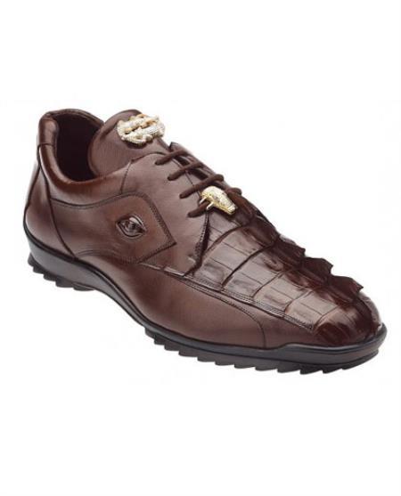 Belvedere Mens Brown Genuine Hornback Crocodile Sneaker