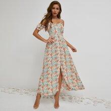 vestido floral con boton delantero ribete fruncido de manga farol