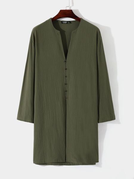 Yoins Men Casual V-neck Plain Button Middle Length Shirt