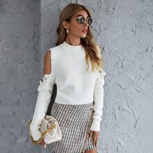 Buttoned Cold Shoulder Sweater