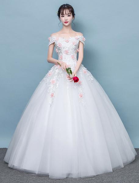 Milanoo Vestidos de novia de marfil del vestido nupcial del Applique de las flores del hombro 3D