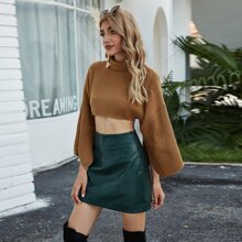 Bell Sleeve Ribbed Knit Crop Turtleneck Sweater