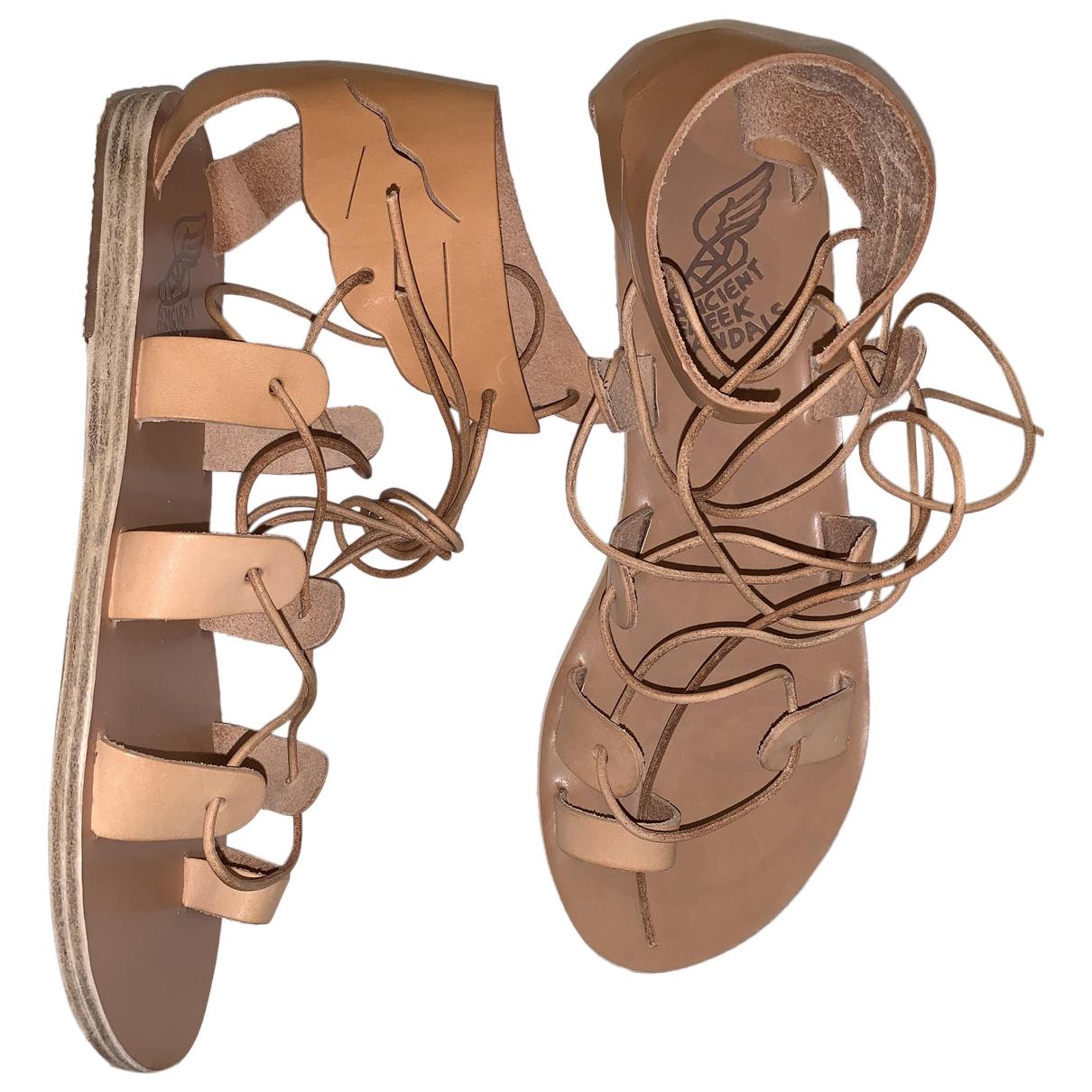 Ancient Greek Sandals \N Sandalen in  Kamel Leder