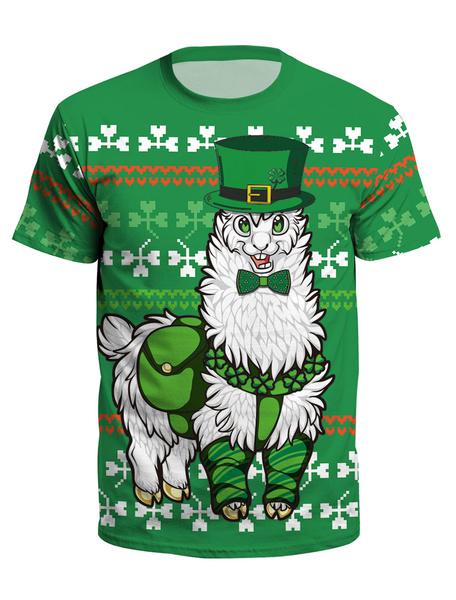 Milanoo St Patricks Day Green T Shirt 3D Printed Clover Unisex Irish Short Sleeve Top Halloween