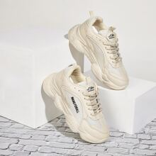 Lace-up Front Letter Print Chunky Sneakers