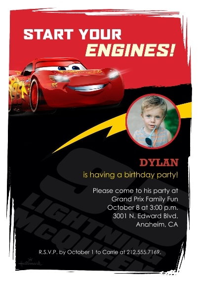 Kids Birthday Party 5x7 Cards, Premium Cardstock 120lb with Rounded Corners, Card & Stationery -Cars Lightning McQueen