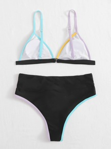 Contrast Binding Triangle Bikini Swimsuit