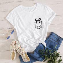 Cartoon Panda & Pocket Print Tee