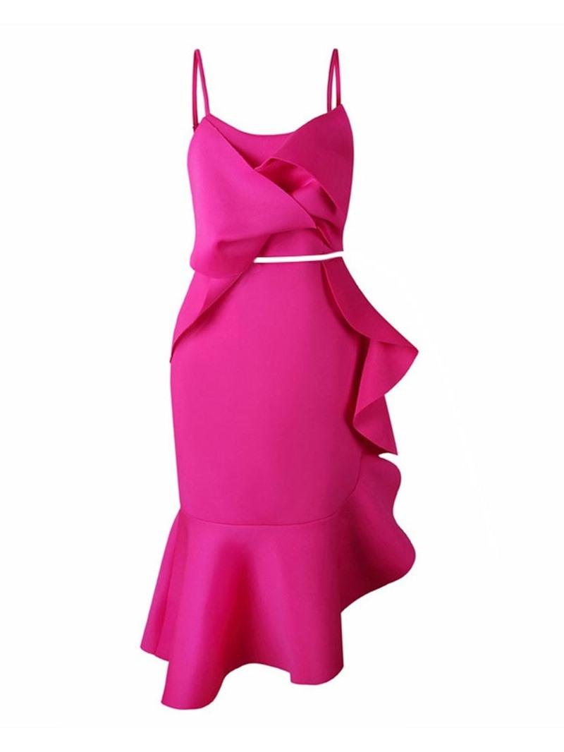 Ericdress Asymmetric Plain Ruffles Vest And Skirt Two Piece Sets