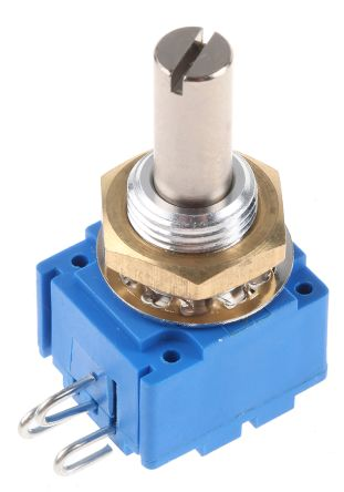 Bourns 1 Gang Rotary Conductive Plastic Potentiometer with an 6 mm Dia. Shaft - 10kΩ, ±10%, 1W Power Rating, Linear,