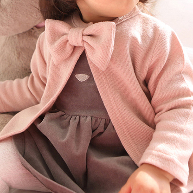 Cute Bowknot Girls Long Sleeve Spring Autumn Coat For 1Y-5Y