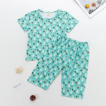 Toddler Girls Rabbit And Floral Print PJ Set