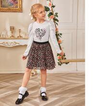 Girls Gigot Sleeve Heart Print Top & Floral Skirt Set