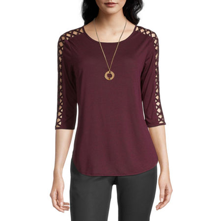 Byer California-Juniors Womens Round Neck 3/4 Sleeve Blouse, Small , Red