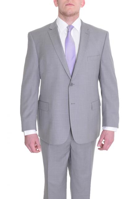 Mens Portly Fit Two Button Fully Lined Solid Gray Super 140's WoolSuit