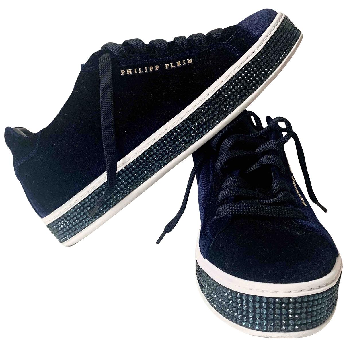 Philipp Plein - Baskets   pour femme en velours - bleu