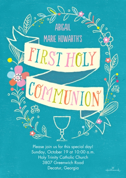 Communion 5x7 Cards, Premium Cardstock 120lb with Elegant Corners, Card & Stationery -First Communion Wreath