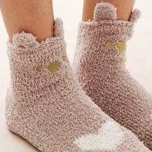 1pair Ear Decor Heart Graphic Fluffy Socks