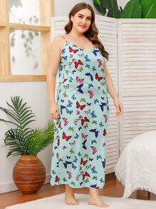 Plus Allover Butterfly Print Cami Night Dress
