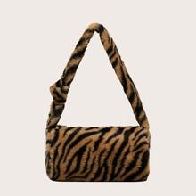 Girls Leopard Print Fluffy Shoulder Bag