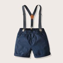 Kleinkind Jungen Shorts mit Streifen, Riemen und Traeger