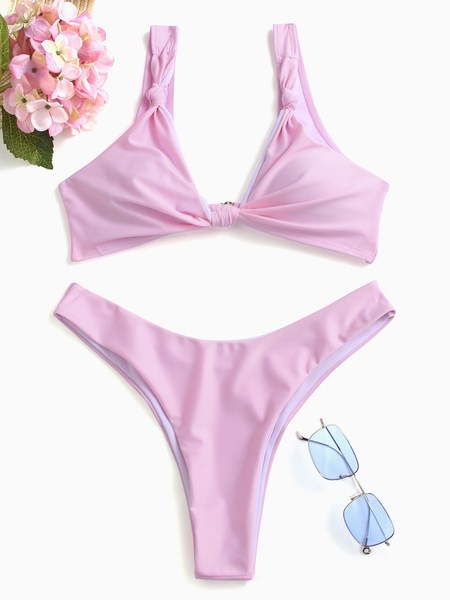 Yoins  Pink Simple Knot Front V-Neck Bikinis