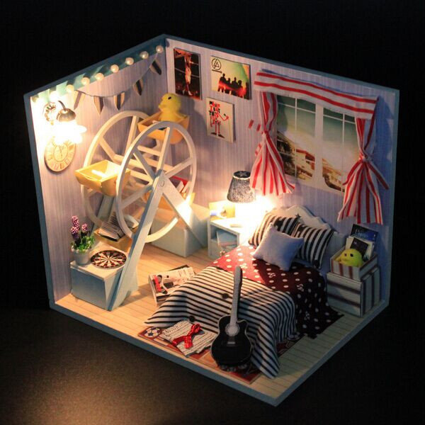 Hoomeda DIY Childhood Memory Wood Dollhouse Miniature With LED+Furniture+Cover Dollhouse