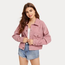 Corduroy Solid Button Front Jacket