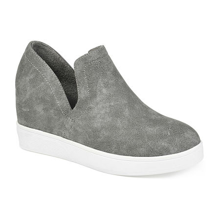 Journee Collections Womens Cardi Sneaker Wedge, 9 Medium, Gray