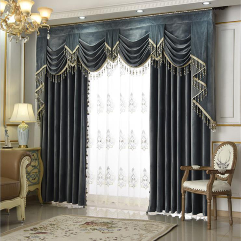 Embroidered Lace Flocking Suede Noble Gray Decorative Curtains