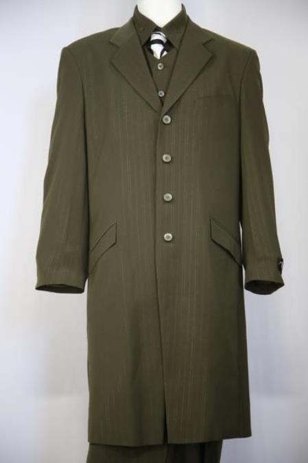 Mens Wire Lace Stylish Single Breasted Flap Pocket Olive Zoot Suit