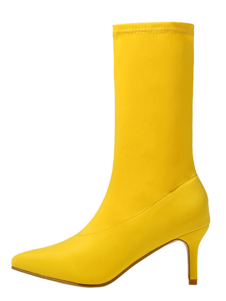 Milanoo Women\'s Sock Boots Mid Calf Stretch Boots Pointed Toe 2.4 Kitten Heel Boots